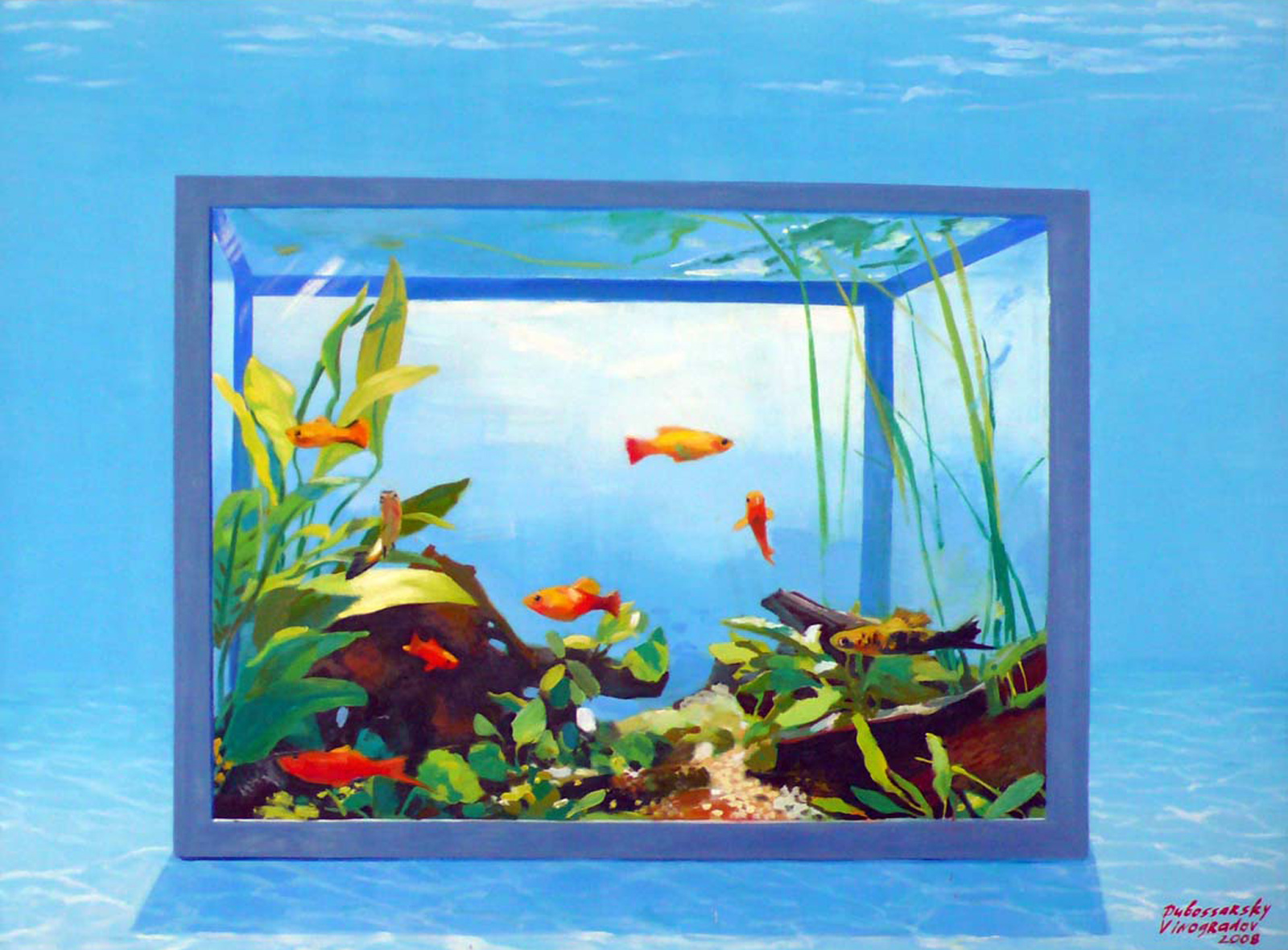 Dubossarsky & Vinogradov Aquarium, 2008 oil on canvas, 145 x 195 cm 57 x 77 ins. Vladimir Dubossarsky and Alexander Vinogradov