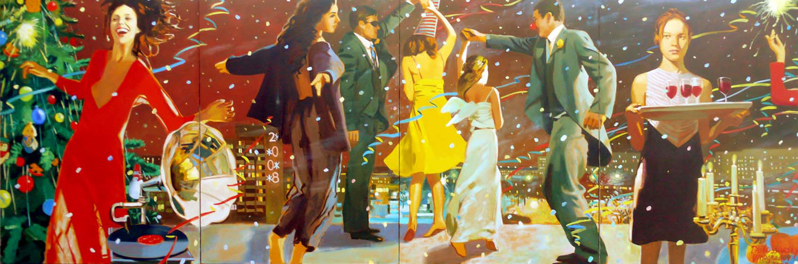 Happy Birthday  2008 oil on canvas, 195 x 295 cm . Vladimir Dubossarsky and Alexander Vinogradov