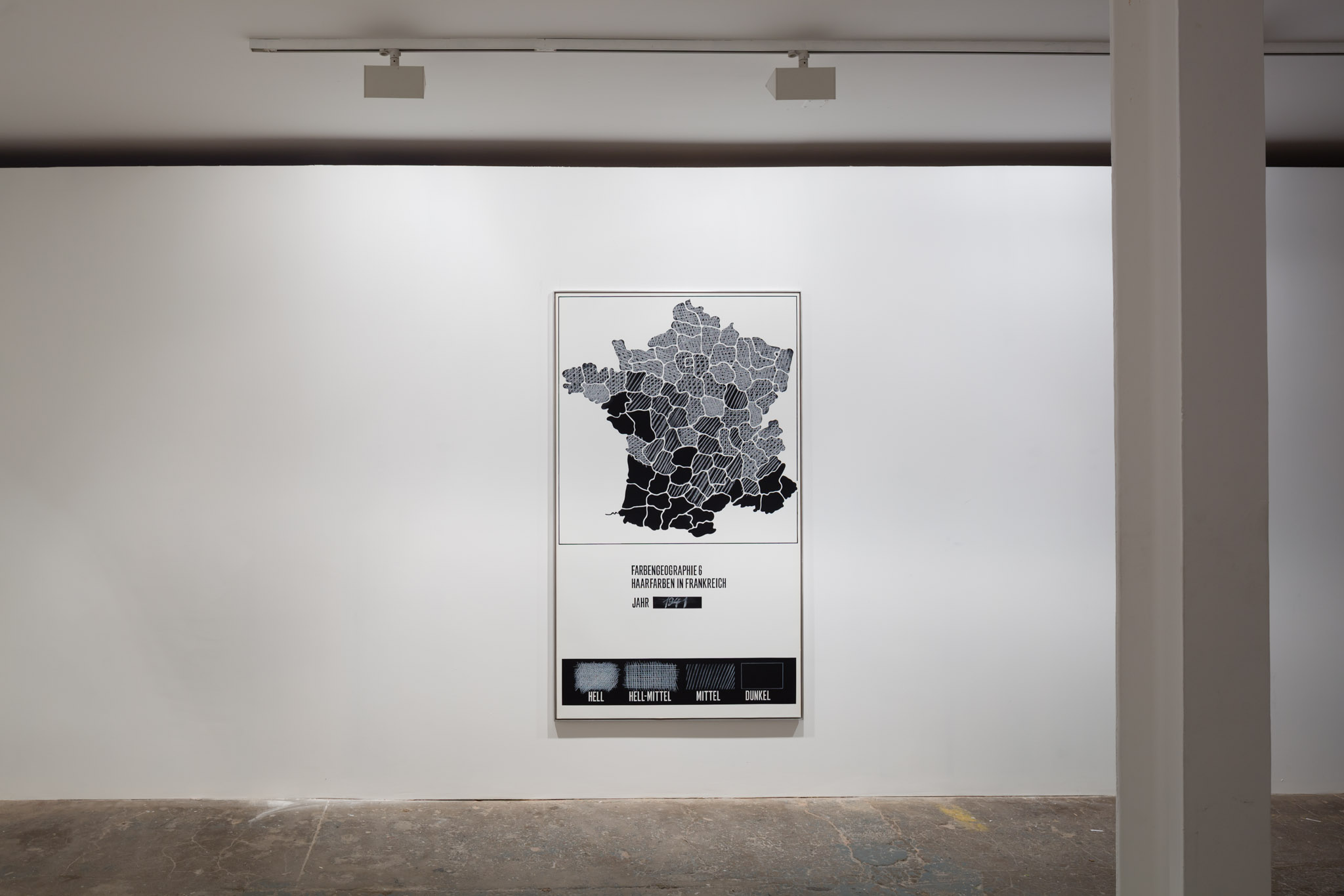 KP Brehmer, Farbengeographie 6 Haarfarben in Frankreich, 1972, mixed media technique on PVC sheet, 200 x 115 x 2 cm / 79 x 45 x 1 ins unique. Nuclear War: What's in it for you? Curated by Will Benedict , K P Brehmer | Nicolas Ceccaldi | Gaylen Gerber | Suzy Lake | Ludmila Seefried-Matějková
