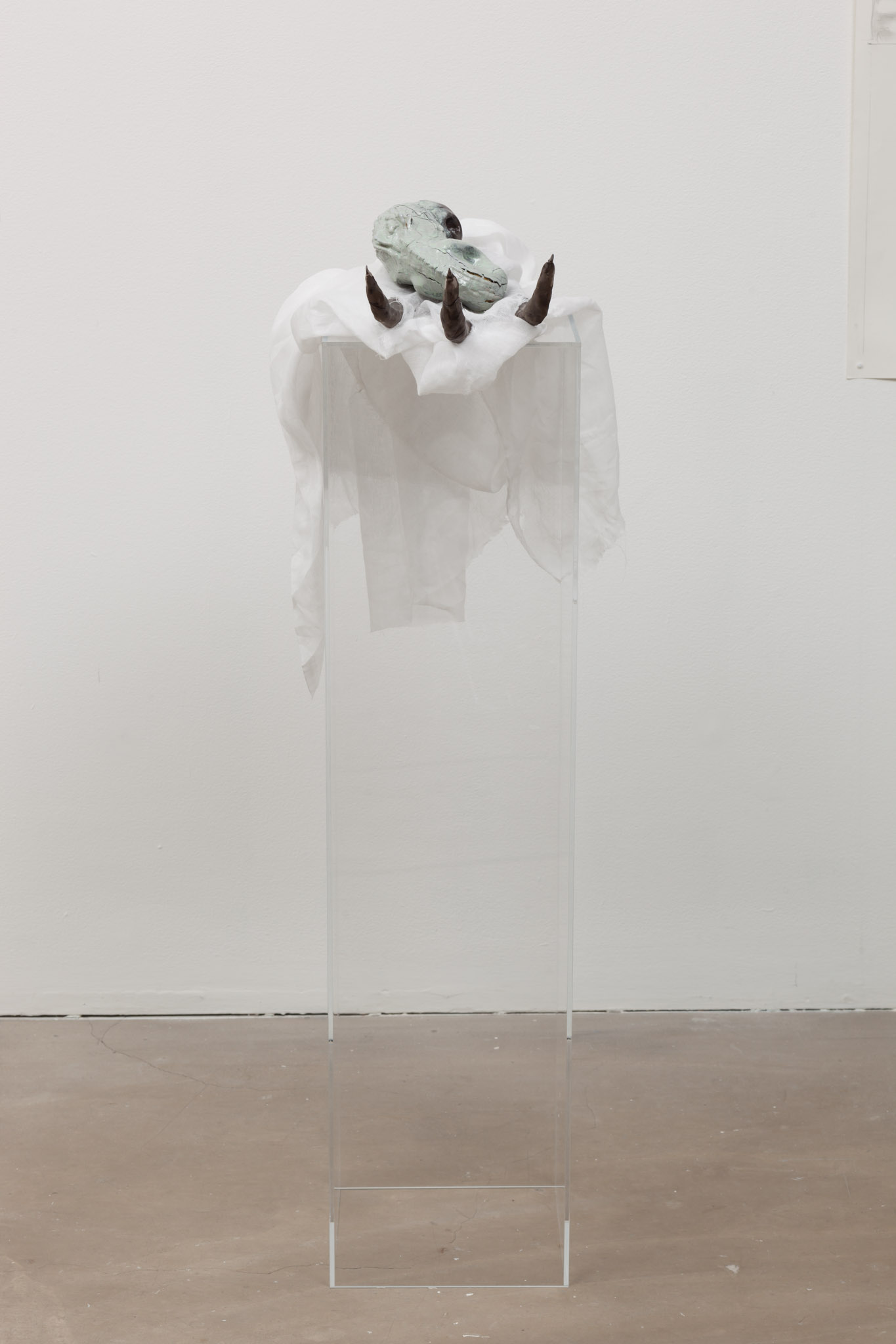 José Rojas, FRACKING, Claw with offering, 2014 Clay, steel, muslin, resin, gourd, plexiglass. 'FRACKING' , José Rojas