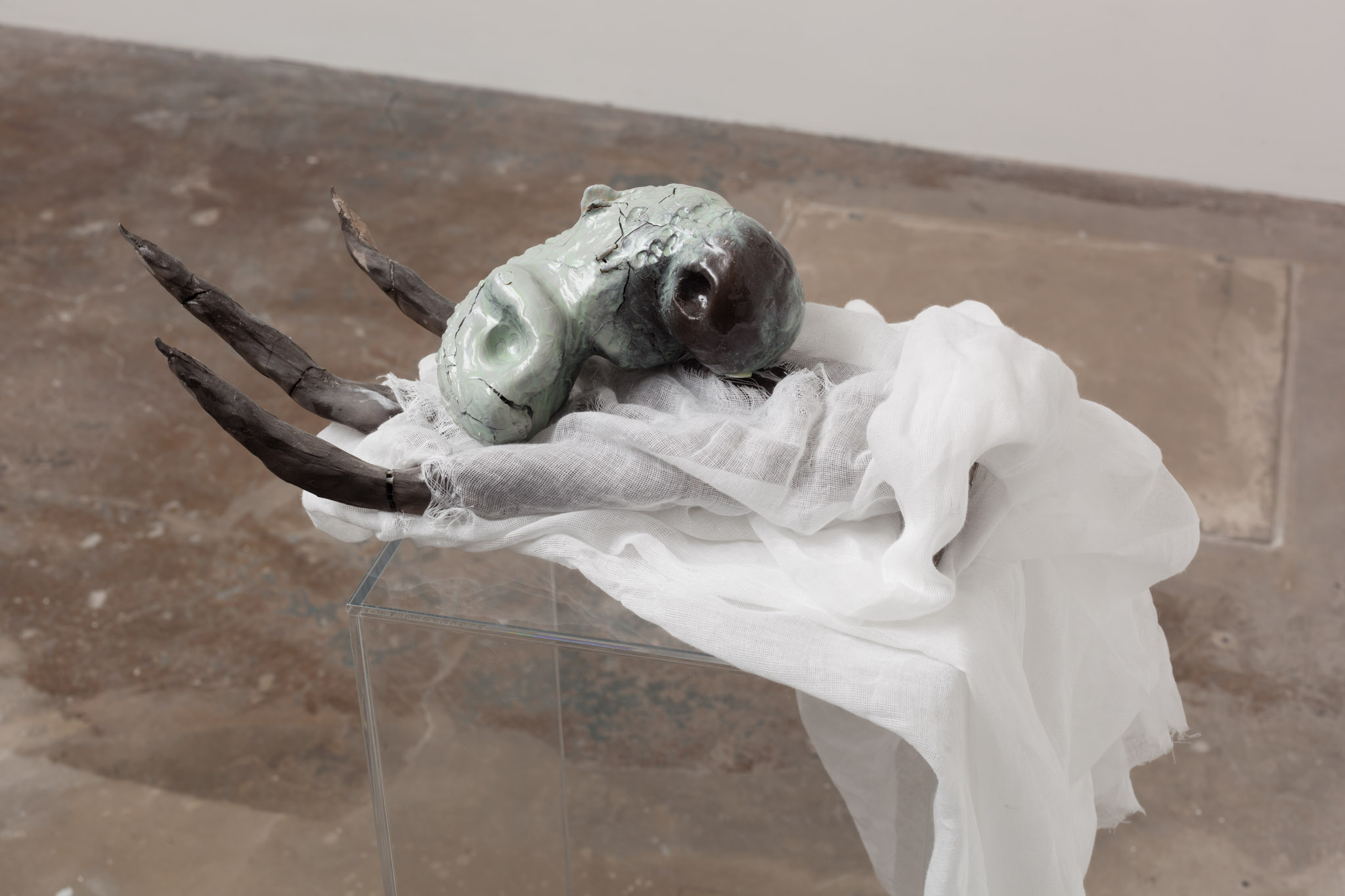 Claw with Offering, 2014, Clay, steel, muslin, resin, gourd, plexiglass, 120 cm x 30 cm x 48 cm, 47.2 x 11.8 x 18.8 ins. 'FRACKING' , José Rojas