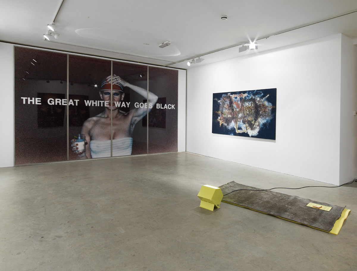 Installation view. The Great White Way Goes Black , Trisha Baga, Ann Craven, Michaela Eichwald, Helena Huneke, Hannah Sawtell, Katharina Sieverding, Julia Wachtel