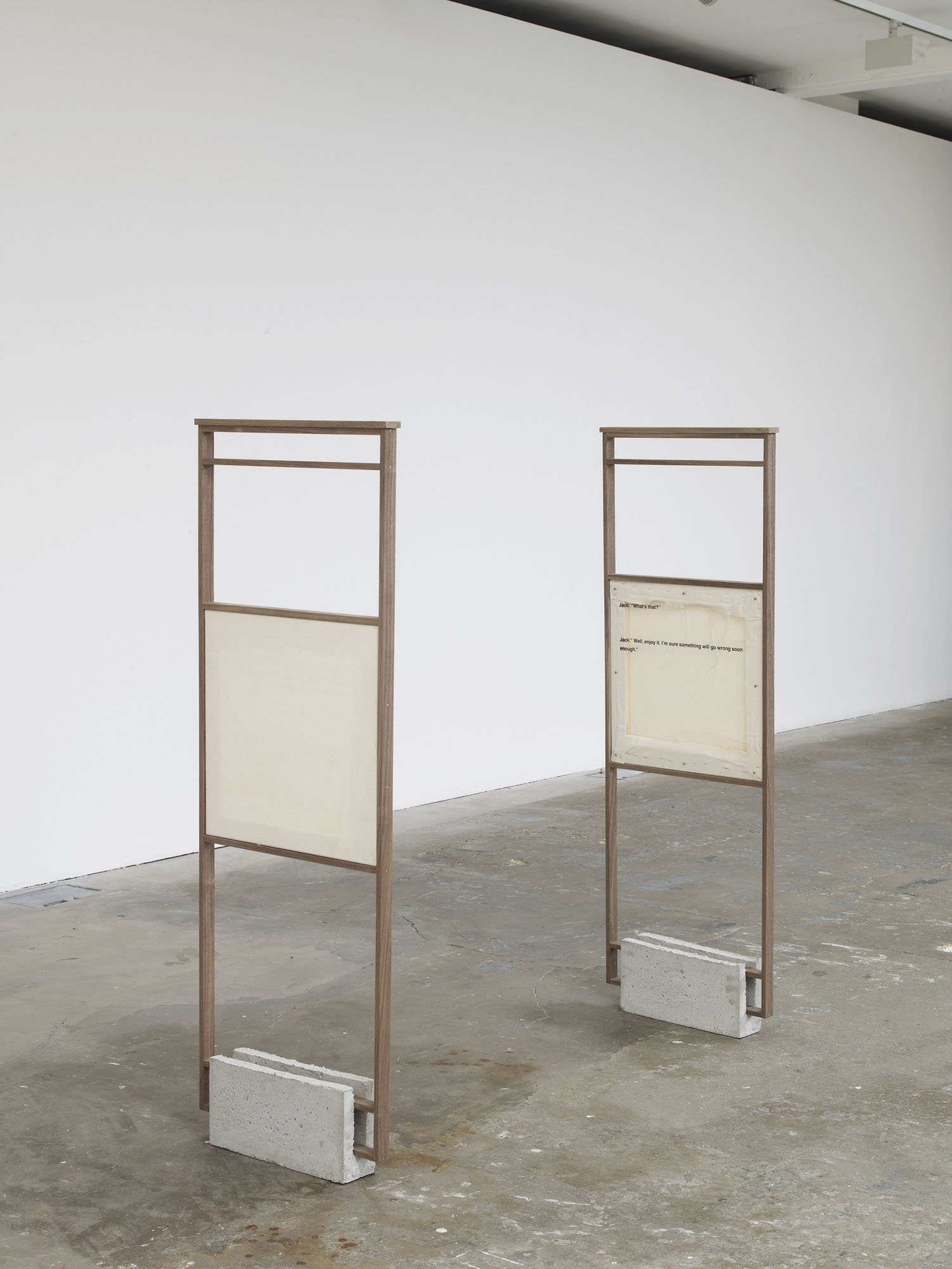 Jack and Kate, 2016  Walnut frame, cement plinth, engraved metal label, UV-print on acrylic glass, canvas on stretcher 140 x 46 x 9 cm 55 1/8 x 18 1/8 x 3 1/2 ins. 2 , Philipp Timischl