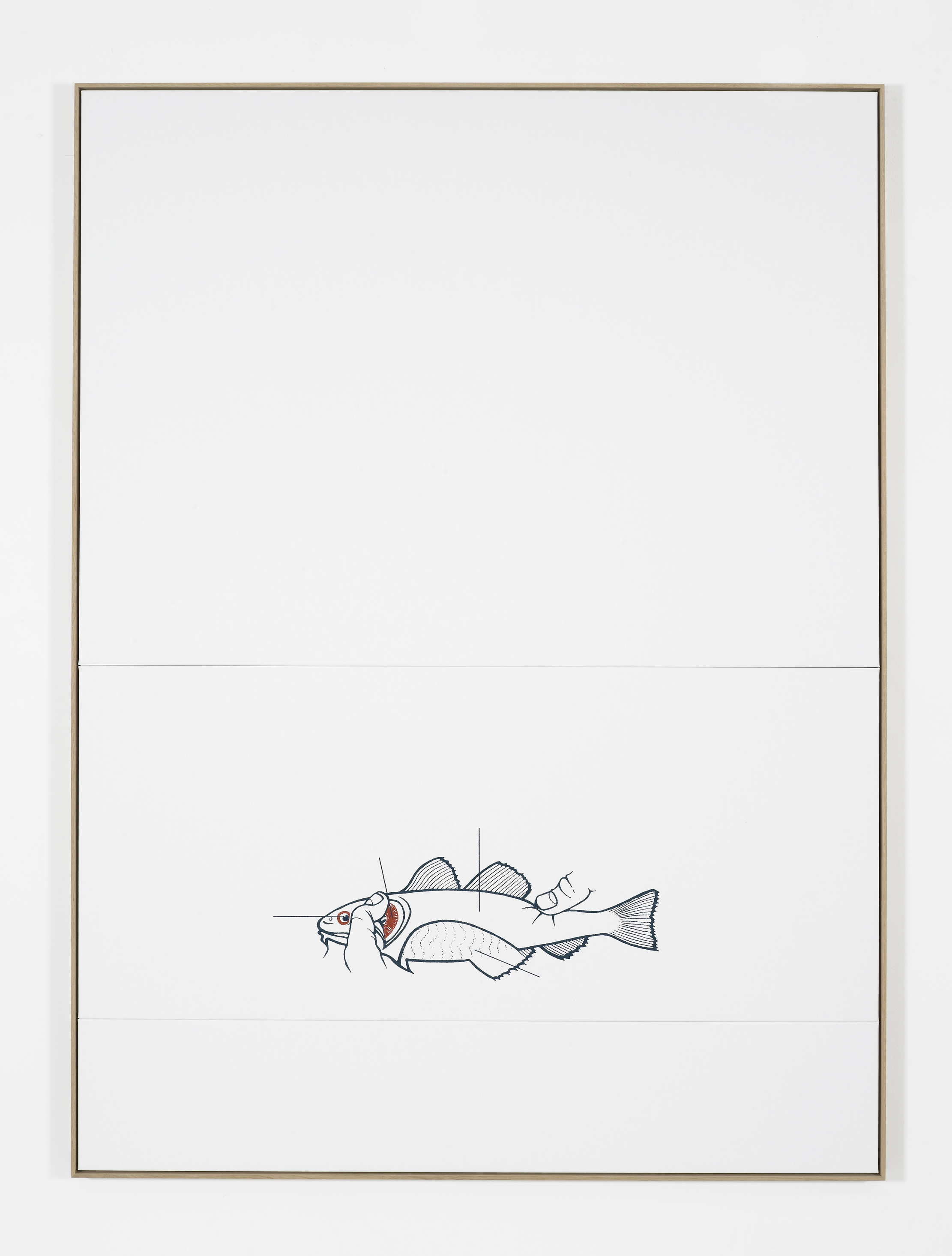 Fish, 2016, Silkscreen on linen, oak frame, 215 x 164 cm, 84 5/8 x 64 5/8 ins. False Friends Falsche Freunde , Oliver Osborne