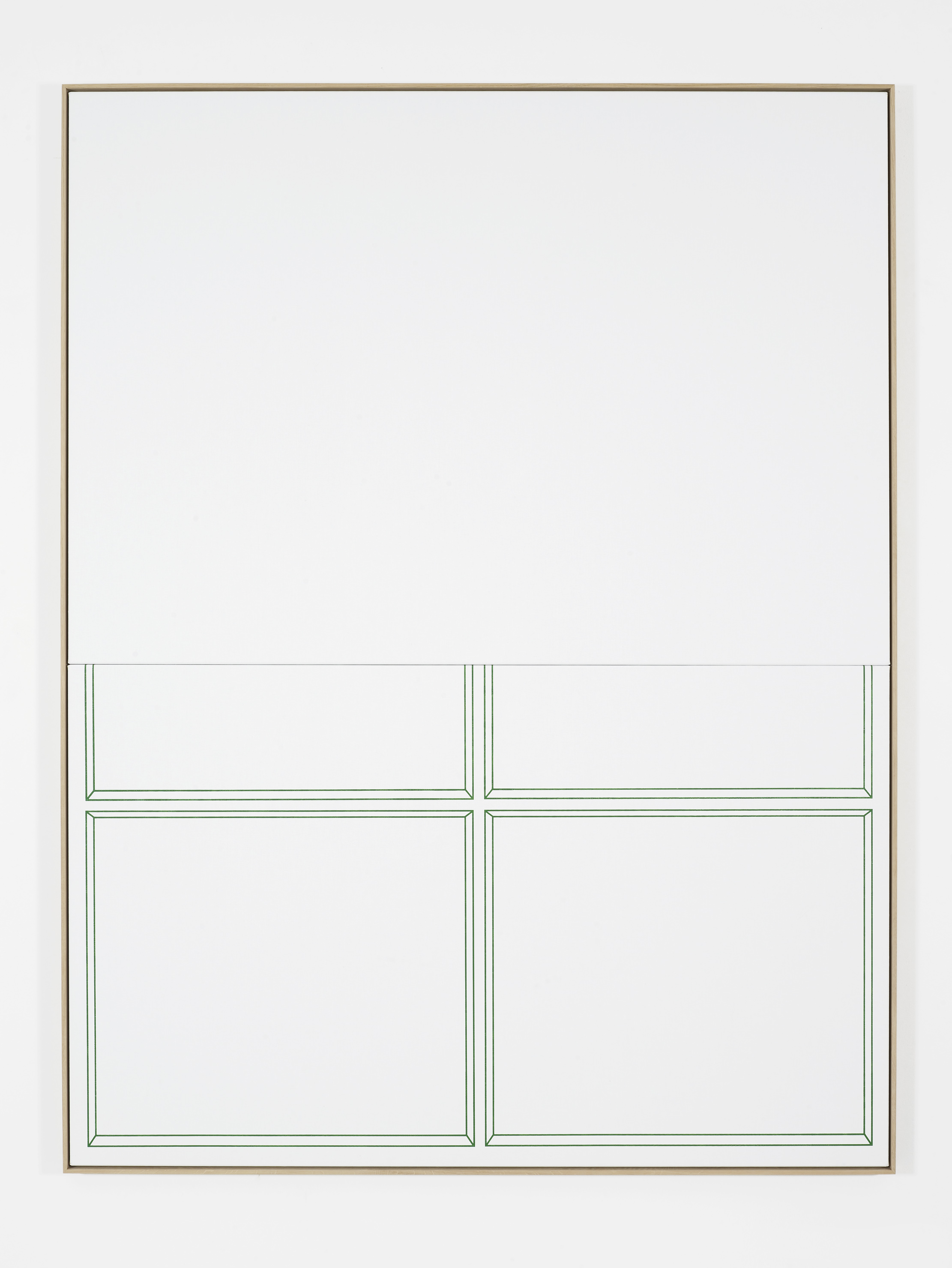 Blind (Window), 2016 Silkscreen on linen, oak frame 215 x 164 cm 84 5/8 x 64 5/8 ins. False Friends Falsche Freunde , Oliver Osborne