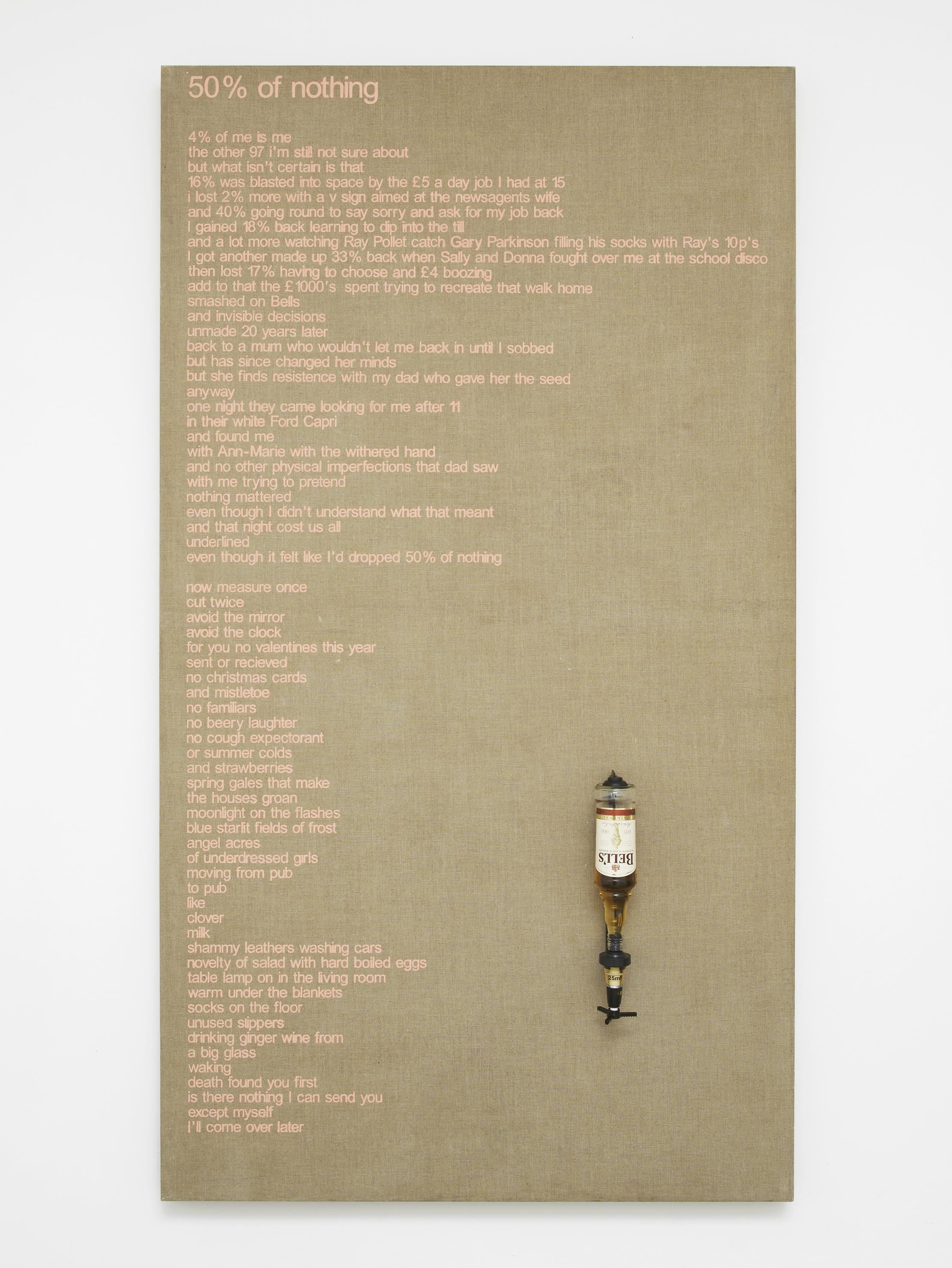 Colin Lowe & Roddy Thomson, 50 % of nothing, 2002, acrylic on canvas, whisky bottle, whisky dispenser, 210 x 117 x 18 x cm, 82, 5/8 x 46 1/8 x 7 1/8 ins . Being There Organised by Matt Williams , NeÏl Beloufa,  Hannah Black,  Eliza Douglas,  Klara Lidén,  Colin Lowe & Roddy Thomson,  Stuart Middleton and Avery Singer