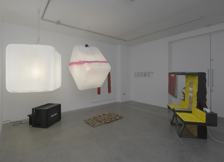 Installation view. Being There Organised by Matt Williams , NeÏl Beloufa,  Hannah Black,  Eliza Douglas,  Klara Lidén,  Colin Lowe & Roddy Thomson,  Stuart Middleton and Avery Singer