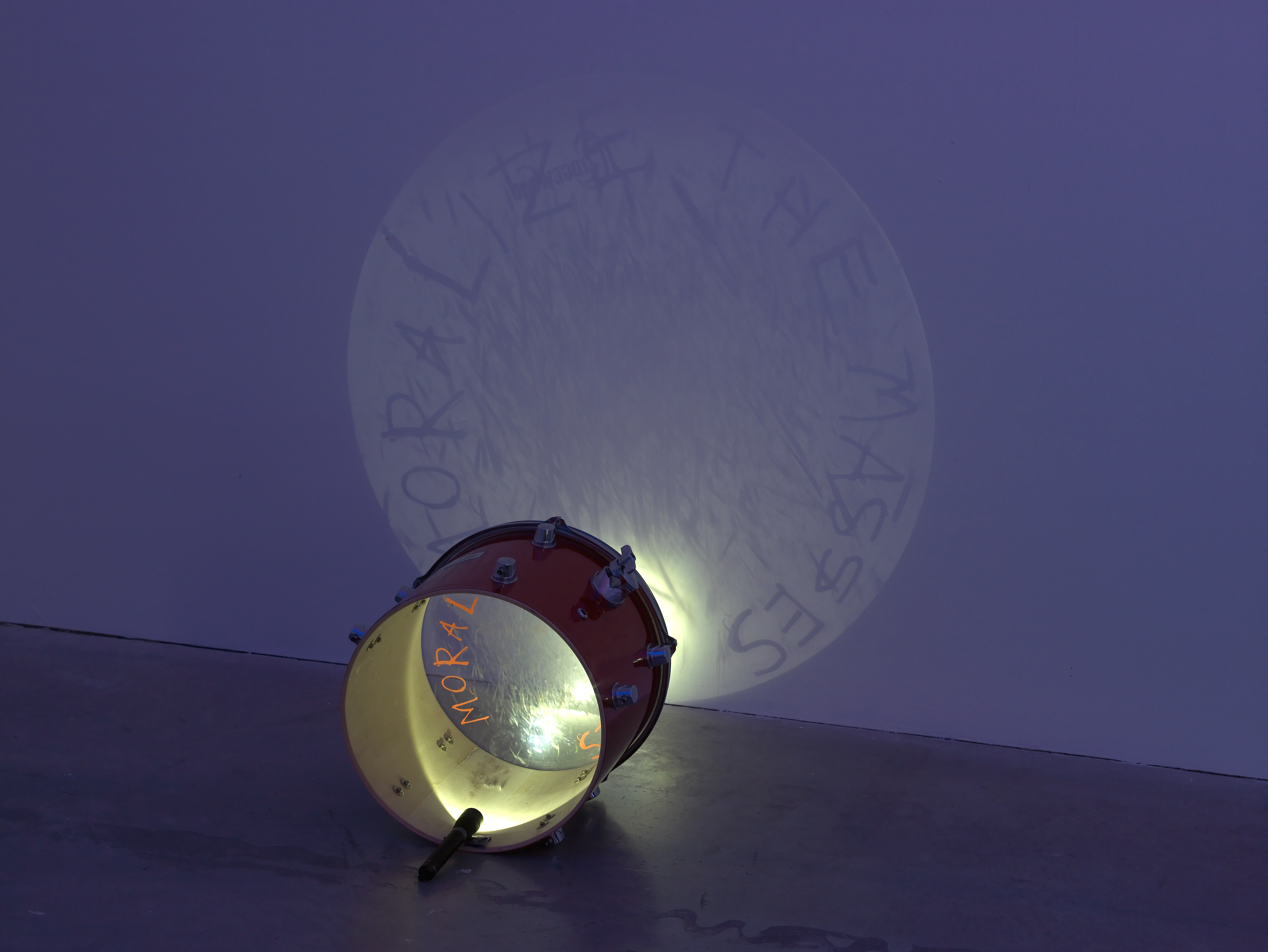 Matt Copson, Moralize The Masses, 2015, drum, torch, drawing, dimensions variable. Reynard Reforms , Matt Copson