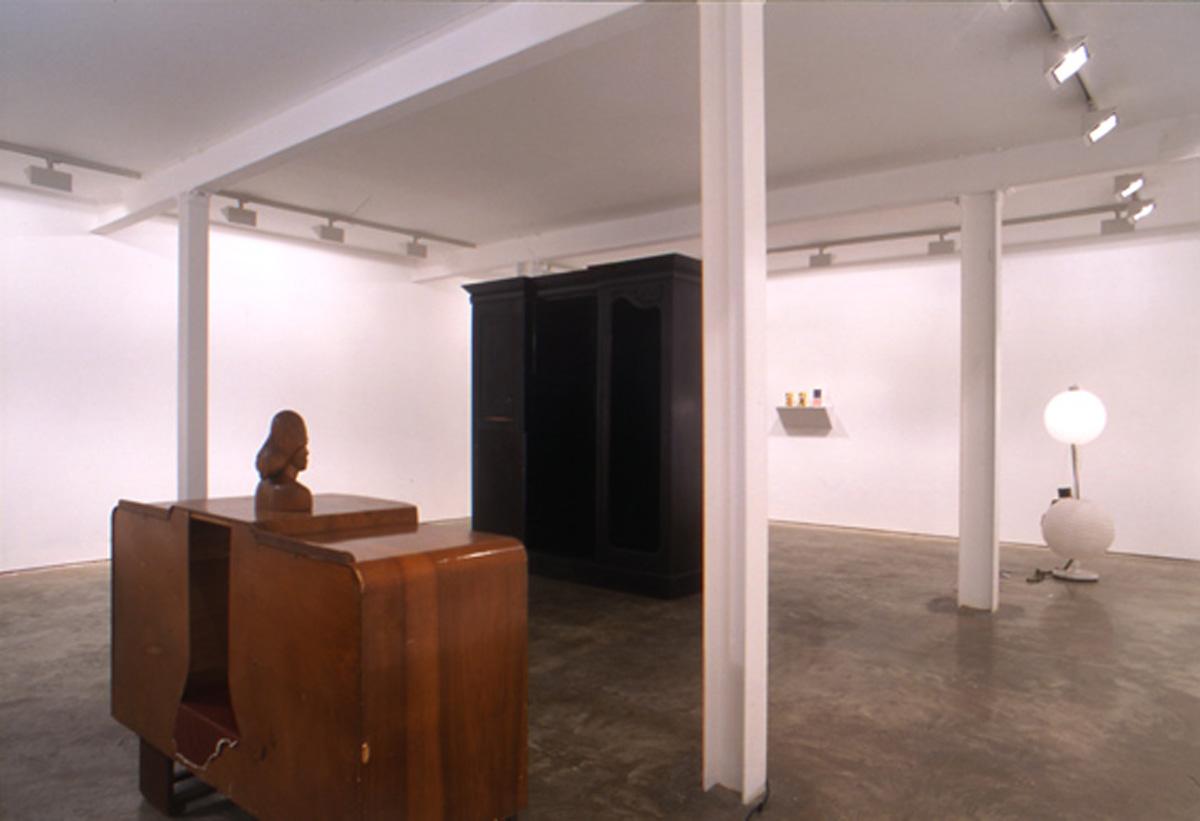 Installation view. Our Marvellous Ambition: A Tale Of Some Straightforward Dressing Down , Brian Griffiths, Haim Steinbach, Josef Strau and Sascha Hahn