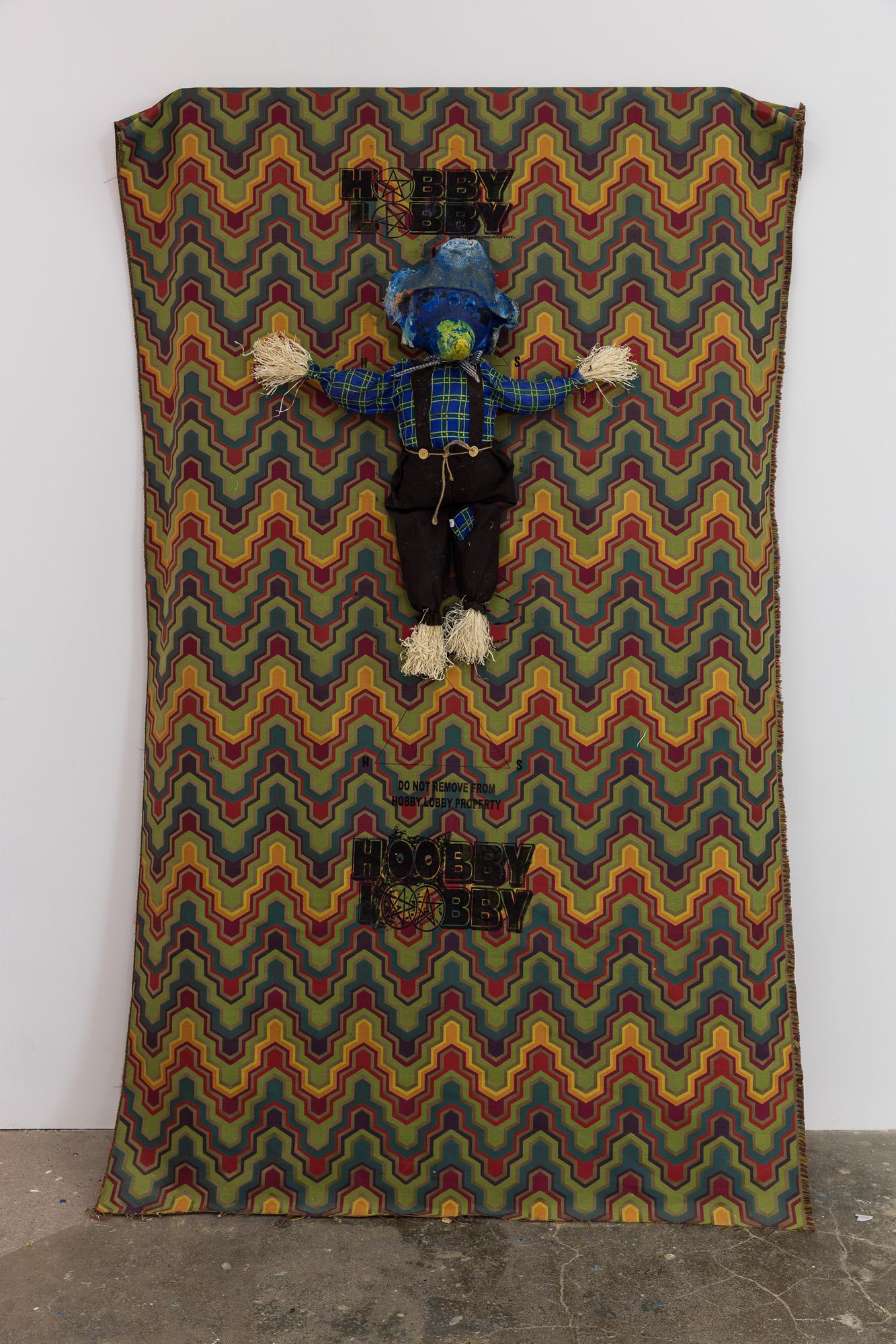 Stephen G. Rhodes Hobby Lobby Merchandise Exemptment II, 2014 hobby lobby dumbo crow, acrylic on hobby lobby shining fabric, HL peg board 224 x 117 cm 88 1/4 x 46 1/8 ins. The Eleventh Hobby , Stephen G. Rhodes