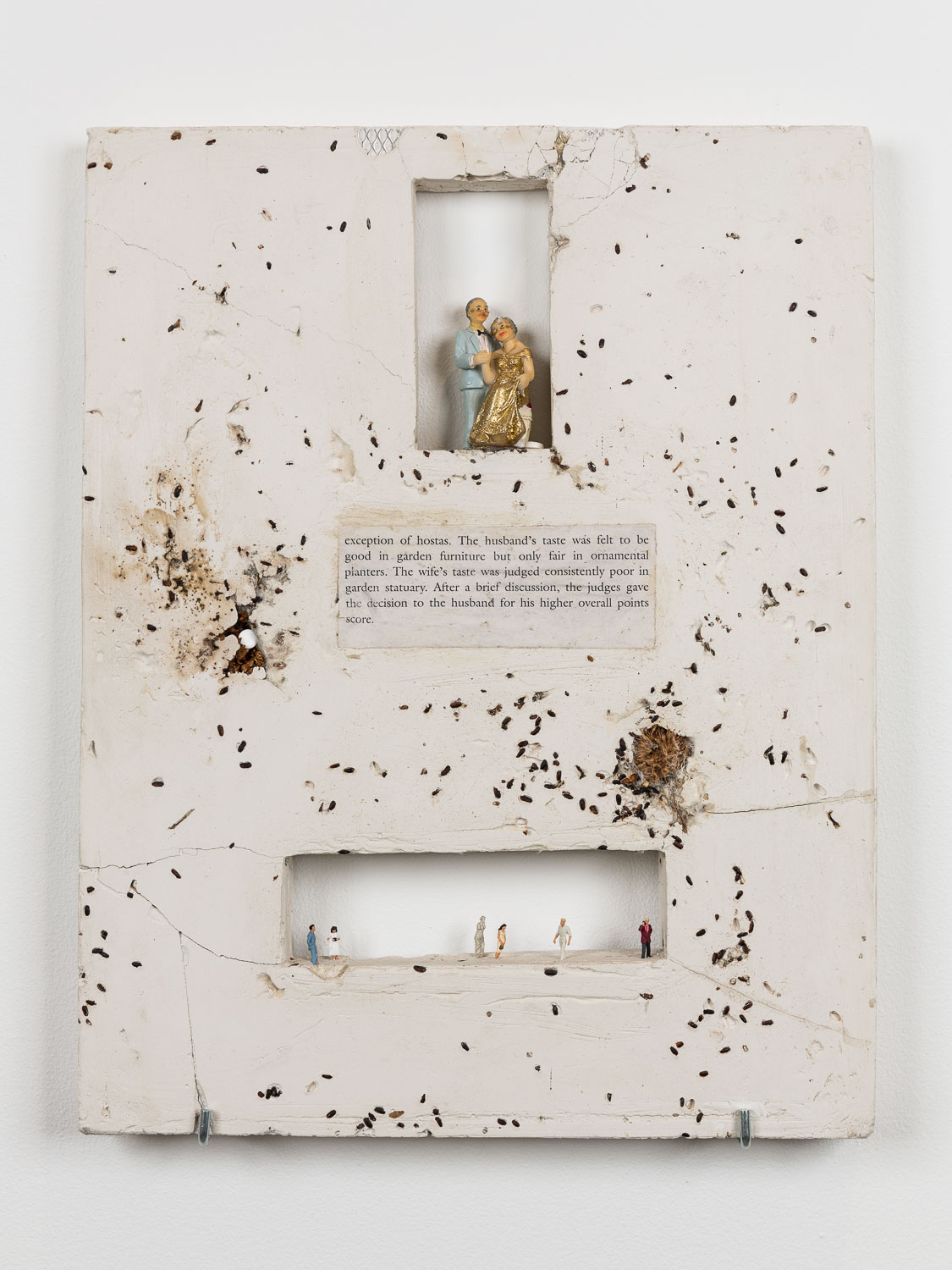 George Rippon Good Taste Context, 2015 Dandelion, models, black rice, allergy tablets, epoxy, plaster 47 x 37 cm 18 1/2 x 14 5/8 ins. Now Panic , George Rippon