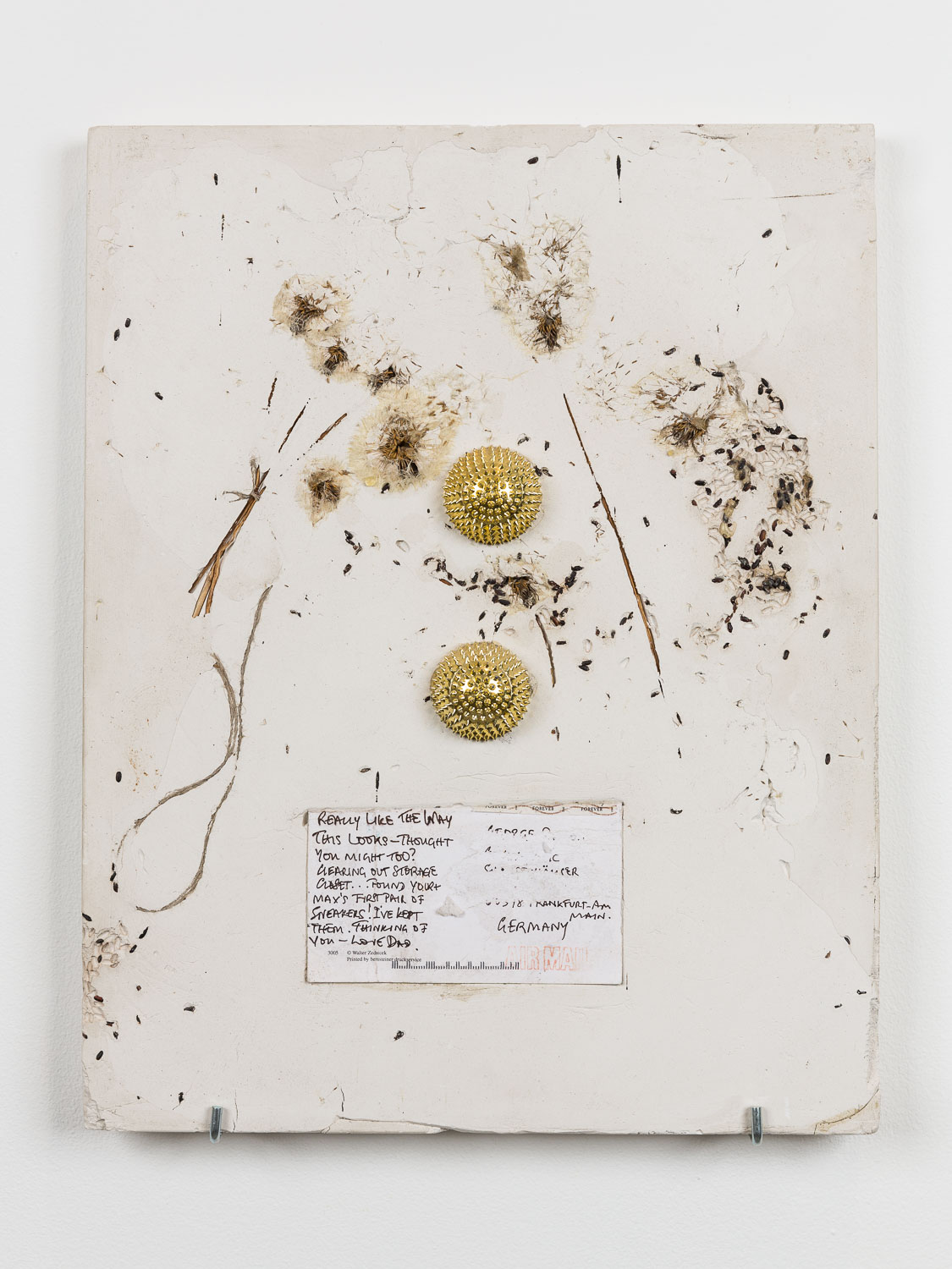 George Rippon Allergy Allegory, 2015 Dandelion, black rice, anti-stress hand massage ball, postcard, plaster 47 x 37 cm 18 1/2 x 14 5/8 ins. Now Panic , George Rippon