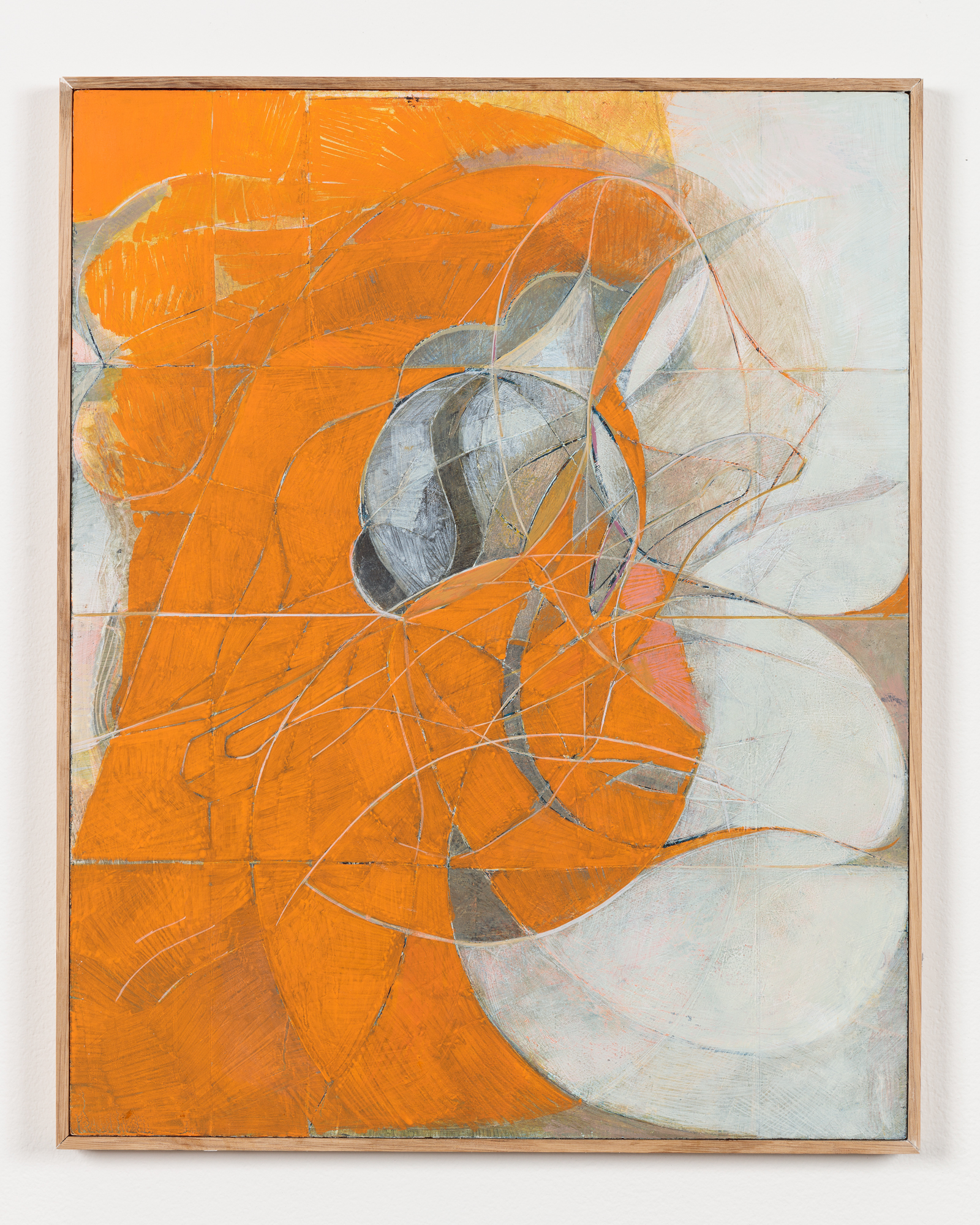 Nicholas Byrne, Past life, orange, 2015, oil on gessoed panel with artists frame, 50 x 40 x 2 cm, 19 3/4 x 15 3/4 x 3/4 ins. Nicholas Byrne