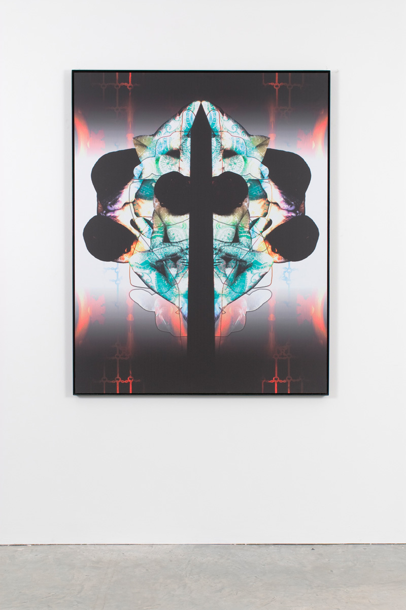 Untitled (cross), 2007 digital print on dibond on steel frame 154 x 122 cm 60 5/8 x 48 ins. The Eye Don't See Itself , Mark Titchner