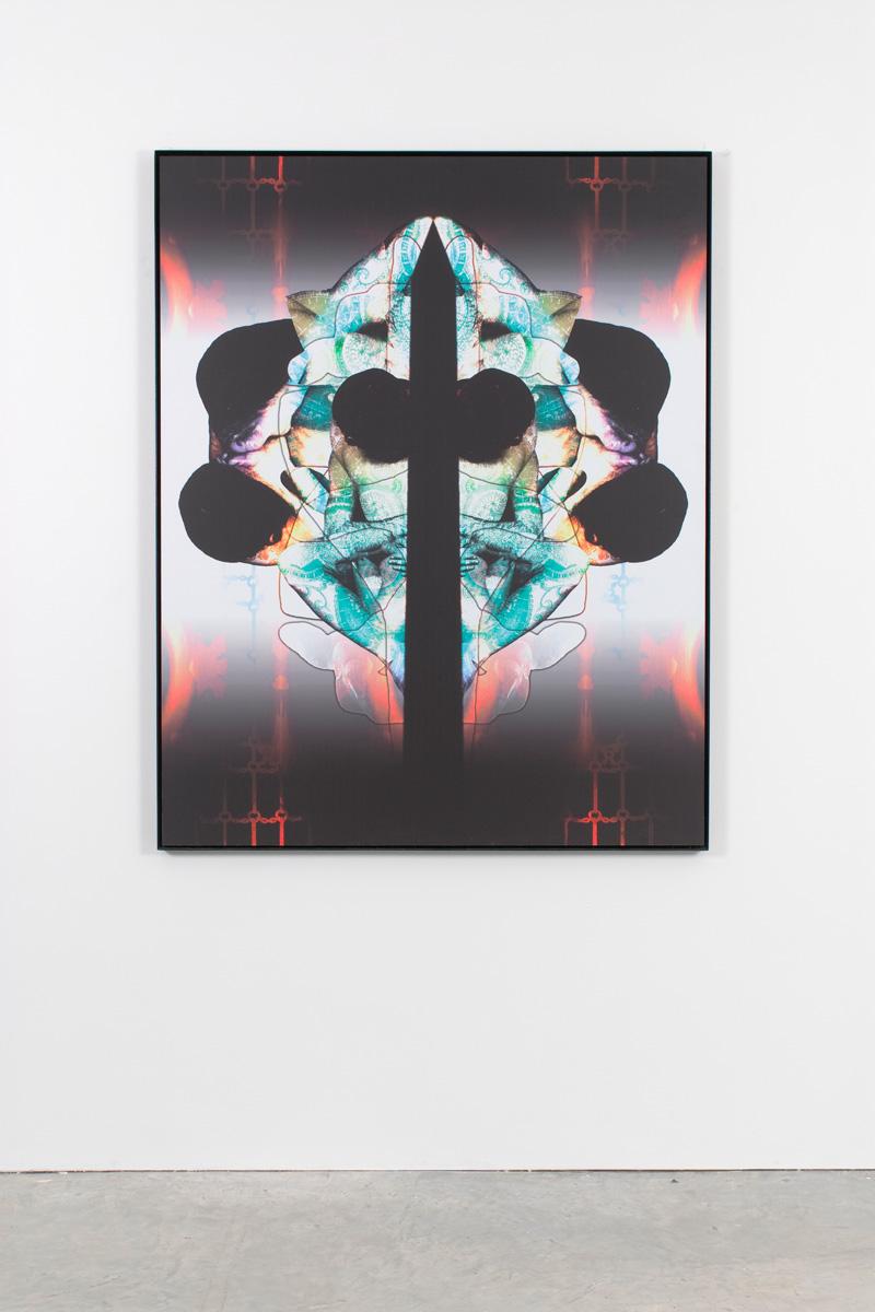 Untitled (cross), 2007 digital print on dibond on steel frame 154 x 122 cm 60 5/8 x 48 ins. The Eye Don't See Itself , Mark Titchner