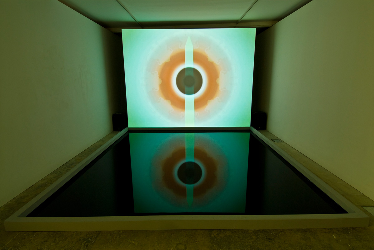 Installation view The Eye Don't See Itself (Poppa), 2007 dvd loop and reflecting pool. The Eye Don't See Itself , Mark Titchner