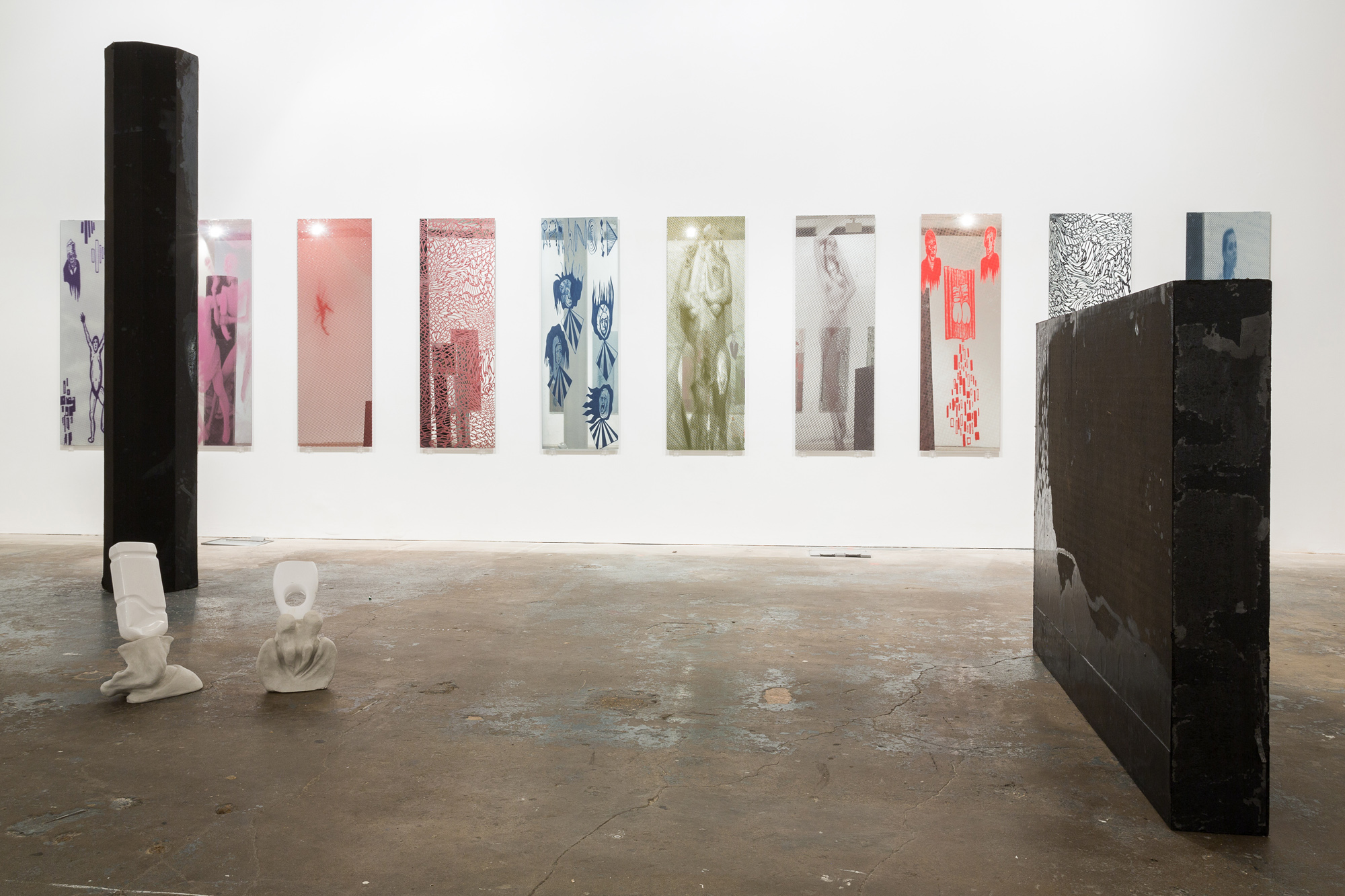 One step away from further Hell, 2015, Lena Henke and Marie Karlberg, Vilma Gold, London, installation view. One step away from further Hell , Lena Henke and Marie Karlberg