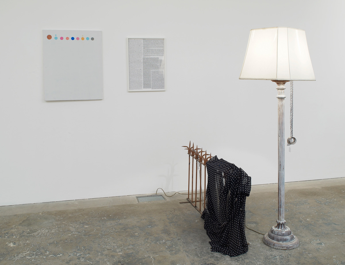 Josef Strau My Soul is Filthy But Your Word To Me is Like the Lamp for the Thief on Your Heart (Brown Iron-Works) 2010 Painting, poster, lamp, metal structure, fabric and chains.. The Piano Lesson , Charles Atlas, Michele Abeles, Will Benedict, Nicholas Byrne, Luigi Ghirri, William Daniels, DAS INSTITUT, Dianna Molzan, Hannah Sawtell, Guy Sherwin, Markus Selg, Josef Strau