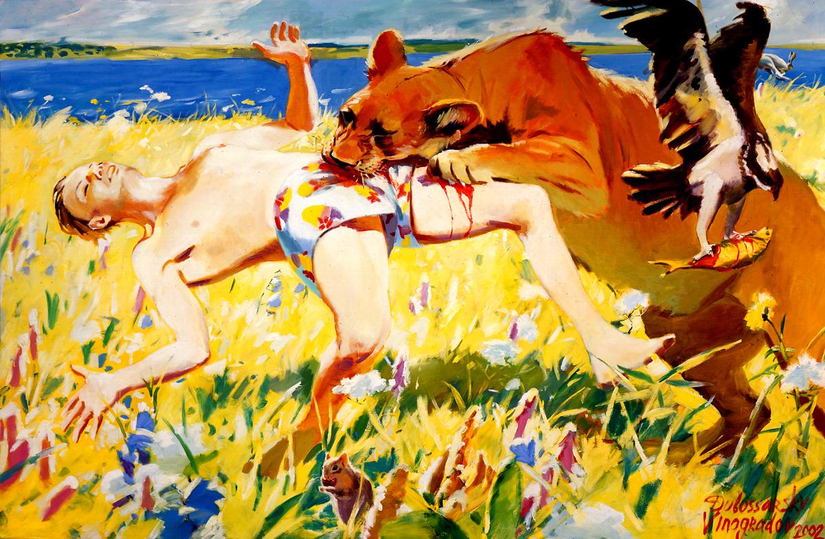 Dubossarsky & Vinogradov Fast Food, 2002 oil on canvas 194 x 294 cm. Dubossarsky & Vinogradov