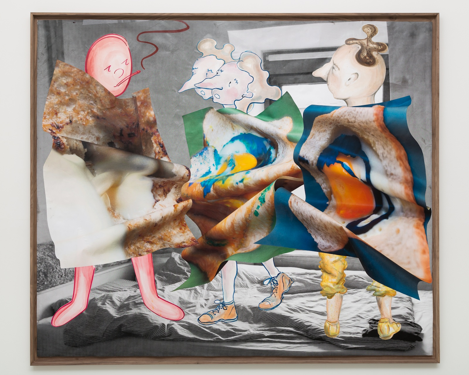 Anne Speier, Observing a Conversation, 2014, collage: watercolor, pencil, crayon, ink, watercolor paper, laser prints, fixative, uv protect varnish frame: walnut, foamboard, 171.5 x 147.5 x 5 cm, 67.5 x 58.26 x 1.96 ins. Two Parks , Philipp Timischl and Anne Speier
